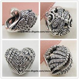 European Pandora Style Jewelry Charm Bracelets 925 Sterling Silver Charms and Murano Glass Bead Set - Swan Feathers Gift Charm Sets