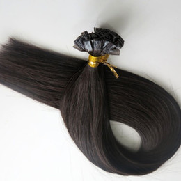 200g 1Set=200Strands Flat tip hair pre bonded keratin hair extensions 18 20 22 24inch #1B Off Black Brazilian Indian Remy Human Hair