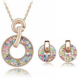 2017 Fashion Jewelry Sets Necklace Earrings Swarovski Elements Colorful Crystal Necklaces Pendants 18K Rose Gold Plated Earrings For Women