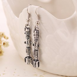 Wholesale 2015 New Arrival Movie Jewelry Doctor Who Fashion Sonic Screwdriver Flashlight Antique Silver Plated Earrings best Gifts For women pairs