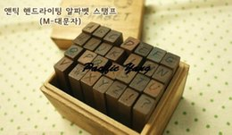 Wholesale-vintage alphabets wood mounted rubber stamps for Christmas party gift greeting card