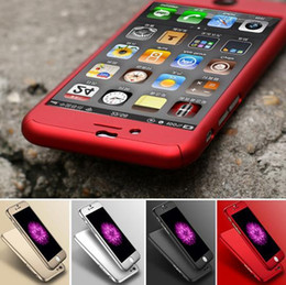 Wholesale Iphone S Plus S7 Case Luxury Hard PC Case For Iphone S Plus SE S Clear Tempered Glass Screen protector Degree Coverage case