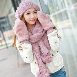 Wholesale-Hot Sale 2015 winter Birthday christmas gift knitted hat scarf gloves three pieces set female fashion The girl scarf set
