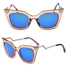 Wholesale Curved Sunglasses - 2015 Metal Cat eye Sunglasses frames women twist curve mirror sun lenses spectacles triangle Metal nose shades Oculos De Sol NEW