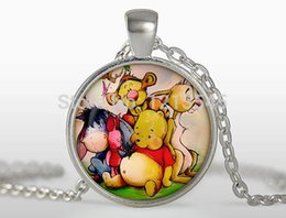 Wholesale etail Cute cartoon bear animated glass pendant silverplated round glass dome necklaces for women jewelry CN