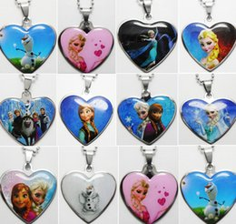 2015NEW 50pcs HOT FROZEN Stainless Steel Pendant Necklaces Wholesale ANA ELSA Fashion Jewelry Lots