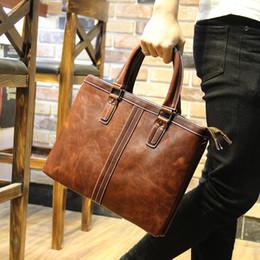 Wholesale High Quality Real Leather Men briefcase quot laptop shoulder Bags messenger