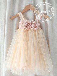Cheap Lovely Little Baby Girls Dresses Champagne Wedding Flower Girls Dresses Custom Made Any Size Knee Tea Length