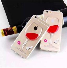 Promotion cas transparents pour iphone 4s Rouge Wine Cup Case 3D Déplacer Liquid Cocktail Verre Transparent Housse TPU pour iphone 4s 5s 6 6 plus s5 note 3 4
