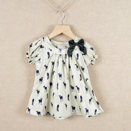 Wholesale Baby girl kids short sleeve deer fawn pattern shirt shirts tops doll T shirt ribbon bow cute top clothes C001