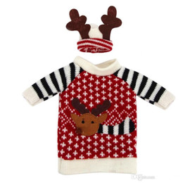 Cute fashion cloth Red Wine Bottle Cover Bags Deer sweater Christmas Decoration Supplies Home Party Santa Claus Christmas free shipping