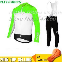 Venta al por mayor-Tres choics 2015 Pro ciclismo Jersey ropa ciclismo Invierno termal velo / ropa de ciclismo Mountain MTB GEL Pad Bib pantalones largos conjunto desde pro invierno baberos de ciclismo proveedores