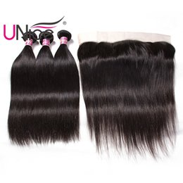 UNice Hair Indian Straight Human Hair Bundles With Lace Frontal Unprocessed Remy Hair Products Wholesale Cheap Bulk Silk Top Straight