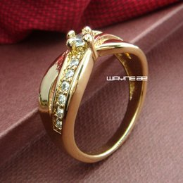 Size 7 18K Gold GP Ring Sapphire Engagement Jewelry (r232)