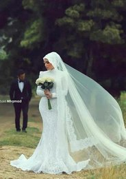 2015 Vintage Muslim Long Sleeves Wedding Dresses Mermaid Lace High Neck Beaded Appliques Sweep Train Wedding Bridal Gowns Bridal Gowns