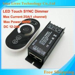 24v диммер панель Онлайн-Оптово-1set / много SZ100 DC12-24V 25A Wirelessbrightness светодиод диммер контроллер сенсорной панели РФ пульт дистанционного управления для светодиодные полосы света