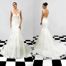 Backless Mermaid Wedding Dresses 2016 Bridal Gowns New Arrival Wedding Gowns Sweetheart Cathedral Wedding Dresses with Appliques and Straps