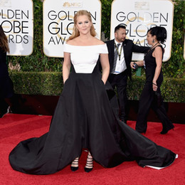 Wholesale 2016 The rd Golden Globe Awards Amy Schumer Celebrity Dresses Off The Shoulder Black and White Plus Size Evening Dresses Cheap