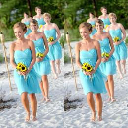 Light Blue Chiffon Knee Length Bridesmaid Dress Under 100$ Party Dress 2019 Prom Vestidos wedding party dresses