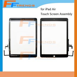 High Quality For iPad Air Touch Screen Digitizer with Home Button Assembly White Black Glass Touch Panel 5pcs lot Free Shipping