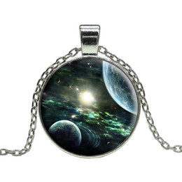 Free shipping Wholesale Vintage Outer Space Universe Starry sky silver statement Chain pendant necklace art glass gemstone necklace