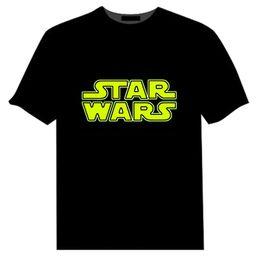 Compra On-line Camisas novas do partido-New 2016 Star Wars Homens Mulheres T-Shirts Meninos Meninas Tops Manga Curta EL Flashing LED T-Shirt Grande Tamanho Mens Stage T-Shirt Festa de Natal Wears