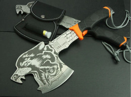 Wholesale Multi purpose camp axe tiger wolf head pattern hatchet mountain axe AX outdoor camping supplies