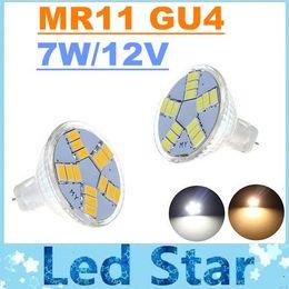 Gu4 conduit en Ligne-CE ROHS UL + 12V MR11 CREE Led Ampoules Leds SMD 5630 15 chaud / froid Blanc 7W 600lm GU4 LED spots lampe 160 Angle + Garantie 3 ans