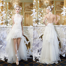 2015 New Halter High Low Beach Wedding Dresses Open Backless Lace French Petite Brides Bohemian Bridal Gown White Vestidos Wedding Gowns