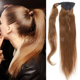 2017 marrón recta armadura brasileña del pelo Extensiones del pelo humano de la cola de caballo 100% Color Brown 18