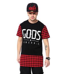 Wholesale-2015 Fashion pyrex men's gods clothing, brand men tops hip hop T-Shirt ,red side zipper tee Red plaid short sleeved T shirts