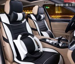 Promotion oreillers de soutien lombaire nterior Covers Accessoires Seat noir rouge 2015 cuir housse de siège de voiture auto couvre accassories intérieur avec lombaire oreiller de soutien headre ...