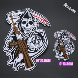 Holly cool big embroidered skull patch applique iron on biker patches