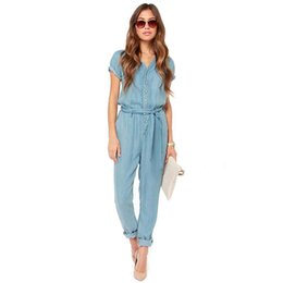 Wholesale Sexy Cowboys Clothing - 2015 New Summer Fashion Sexy Style Jumpsuit Women Long Sashes Short Sleeve Casual Party Street Solid Women's Clothes Cowboy OXL081709