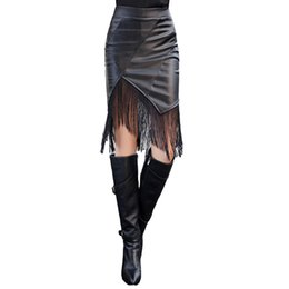 New Fashion Women PU Leather Skirt Elastic High Waist Leather Fringe Skirt Sexy Bodycon Pencil Skirt Black