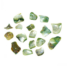 """Dorabeads Shell Charm Beads Irregular Green About 27mm x 15mm(1 1 8"""" x 5 8"""")-11mm x 11mm,Hole:Approx 1.2mm,100 Grams"""