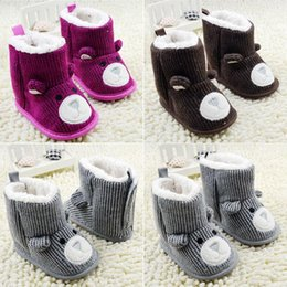 Wholesale New Winter Toddler Infant Shoes Baby Boy Girls Shoes Snow Boots Cute Bear Pattern Fleece Crib Shoes M