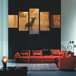 Wholesale Home Decoration Home decorating Panels Living Room Canvas Snow and deer Wall Art PictureCanvas Print Modern Painting