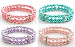 Wholesale Rows Pink Blue Purple Baby pink dog pearls collar necklace bling accessories pet puppy jewelry