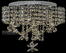 D500mm Modern K9 LED Crystal Ceiling Light Fixture Chrome LED Ceiling Light Lighting Lamp Flush Mount AC Guaranteed 100%