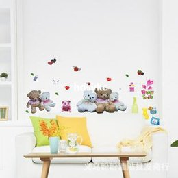 Wholesale Wall stickers home decoration Three generations of removable wall stickers children s room classroom decorated teddy bear sticker cartoon wa