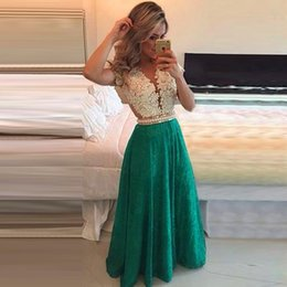 Green Prom Dresses 2015 Deep V Neck Lace Appliques Beads Pearls Sheer Back Floor Length Evening Gowns