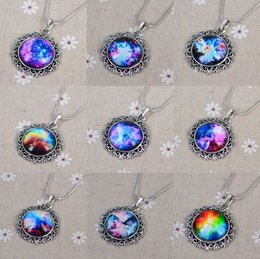 Wholesale Vintage starry Moon Outer space Universe Gemstone Pendant Necklaces Retro Women Jewelry