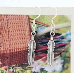 Wholesale New Antique Silver Cute Feather Charm Earrings Silver Fish Hook Chandelier E564 x5 mm