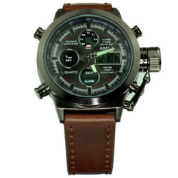 Wholesale New Arriva AMST Unique Vogue Men Swimming Digital LCD Quartz Outdoor Sports Watches Relogio Masculino Clock Handmade Leather Canvas Strap