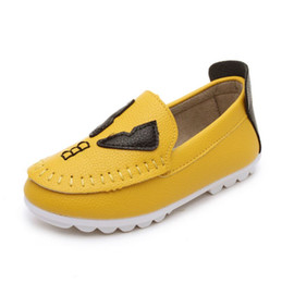 New 2015 Black Yellow White Pink Flat-bottom Fashion Children Shoes Kids Leather Shoes Sneaker Boys Girls