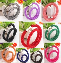 Wholesale Boutique double ring bracelet Woven mesh bracelet fashion bracelet network Swarovski new bracelet Handmade WOMEN bracelet DD