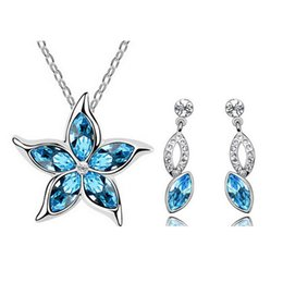 Alloy Silver Plated Austria Crystal Necklace Earrings Sets Fashion Women Best Gift Jewelry Sets Wedding Jewelry Set 1297