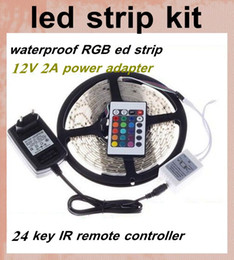 rgb led strips lgiht lamp 5m 300 leds SMD 3528+ir remoter controller+12v 2a power supply+4 pin connector cable led strips lighting dhl DT026