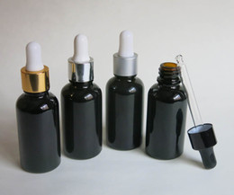 wholesale, 10 pcs 30ml black glass essential oil bottle with dropper, cosmetic packaging, dropper glass bottle
